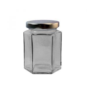 190ml:170g Hexagonal Glass Jar With Lid