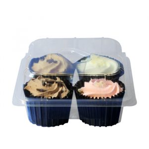 Clear Plastic Box With Hinged Lid For 4 Cupcakes