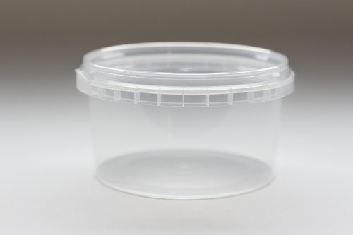 240ml round plastic tub with tamper evident lid. Food packaging great for confectionarys, cheese, soup, spices and sauces. From our food packaging range.
