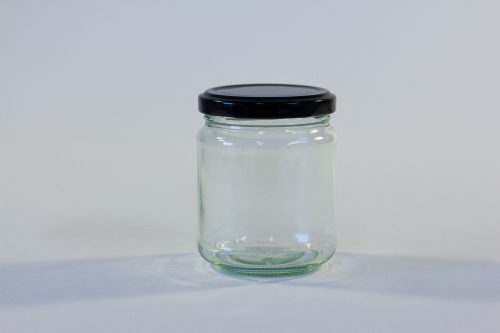 228ml Round glass jar with lid. Food grade packaging perfect for honey, jams, confectionarys and chutneys.