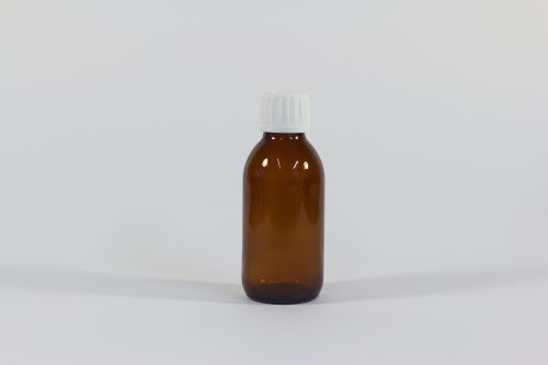 150ml amber glass bottle with white lid. From our glass packaging range.