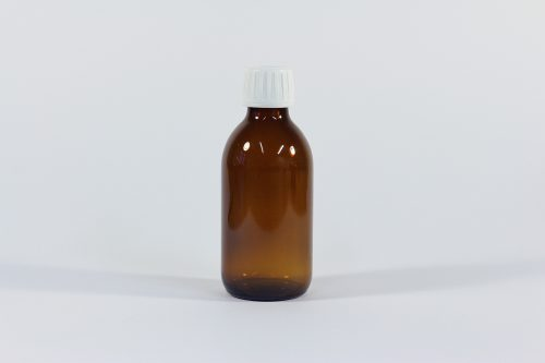200ml amber bottle with white cap. From our glass packaging range.