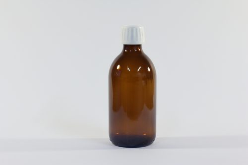 300ml amber glass bottle with white cap. From our glass packaging range.