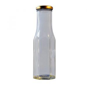 250ml Hexagonal Glass Sauce Bottle With Cap