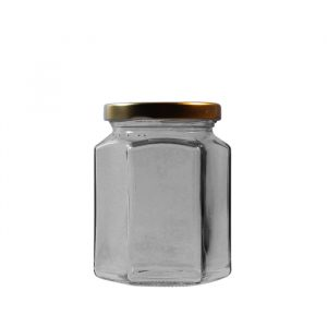 283ml/12oz Hexagonal Glass Jar With Lid