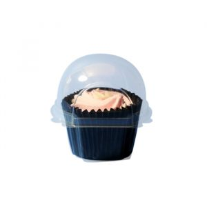 Single Cupcake Tray With Hinged Lid - Clear