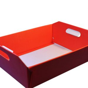 Large red hamper basket-tray