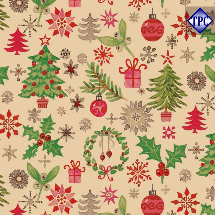 wrapping paper kraft christmas holly brown 50cm x 100m - Cheap Christmas Wrapping Paper