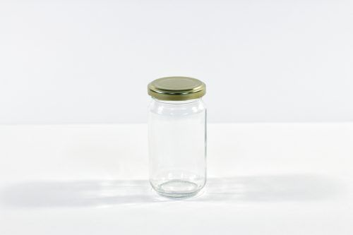 212ml Round glass jar with lid. Food grade packaging perfect for honey, jams, confectionarys and chutneys