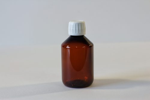 200ml amber pet bottle with white cap. From our pharmaceutical packaging range.