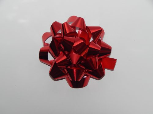 100MM Red Metallic Bow On a White Backdrop