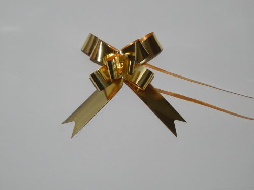 18mm gold pull string ribbons on a white background.